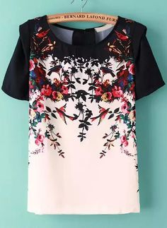Black White Short Sleeve Floral Chiffon Blouse 14.33