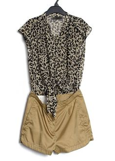coffee Leopard Color Block Chiffon High Waist Jumpsuit