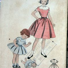 1950s Vintage Girls Dress Pattern With Shaped Yoke And Full Skirt Butterick 7498