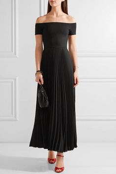 Alice Olivia - Ilana Off-the-shoulder Stretch-jersey And Chiffon Dress - Black - US12