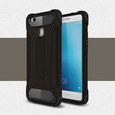 """Case For Huawei P9 Lite Slim Armor Anti-Shock Silicone Rugged Rubber Hybrid Hard PC Phone Case For Huawei P9 Lite Cover 5.2"""" ]<"""