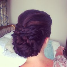 Newton Hall Wedding Hair By Lisa Cameron Braids plaits plaited up do bride hair up ideas Bridemaids braid hairstyle updo bridal plait North easy hairdresser northumberland