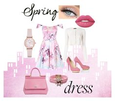 """""""Spring Dress"""" by meganmoore04 ❤ liked on Polyvore featuring Dolce&Gabbana, Lime Crime, Emporio Armani, Shourouk and Roberto Collina"""