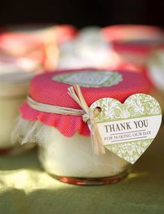 Mason Jar Candle Wedding Favors from My Own Ideas blog #wedding #favor #candle #craft #handmade #diy definitely what I want for wedding favors.