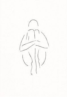 Minimalist nude sketch. Original ink drawing. Black and white art by Siret Roots.