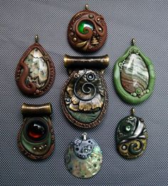 Polymer Clay Pendants Natural Group by *MandarinMoon on deviantART    I have some of the same findings!