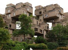 parc de la Cité-du-Havre, av. Pierre-Dupuy, Mtl / Moishe Safdie's plan was to create cheap, prefabricated housing for the masses, Habitat 67