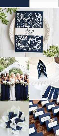 classic navy blue and white wedding colors inspired laser cut wedding invitations