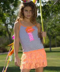 Heather Gray & Neon Orange Adelynn Dress - Toddler & Girls by Nesting Baby #zulily #zulilyfinds