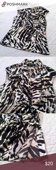 Fancy Blouse Sz 4 Fancy animal print v-neck Blouse. Size 4. Kasper brand. Sleeveless with size zipper at bottom. 94% polyester 6% spandex EUC black, cream, color. Satiny feel Kasper Tops Blouses