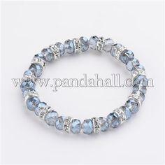 Electroplate Glass Beaded Stretch Bracelets BJEW-JB02035-02-1