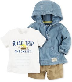 Carter's 3-Pc. Cotton Chambray Hoodie, Road Trip T-Shirt & Shorts Set, Baby Boys (0-24 months)