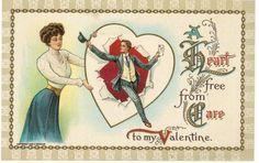 Old-fashioned Valentine postcard, originally printed in 1909.  Sent to Postcrosser in the United Kingdom.