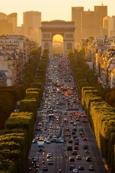 Looking down the Champs Élysées toward the Arc de Triomphe, Paris