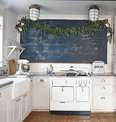 Chalkboard and light fixtures. Making a New House Look Old — Cottage Living | Apartment Therapy