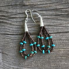 NATIVE AMERICAN TURQUOISE & OLIVE SHELL EARRINGS BY RAMONA BIRD