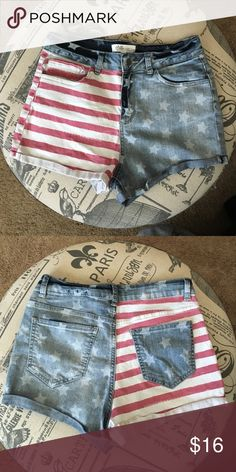 American Flag High Waisted Shorts  American Flag High Waisted Shorts  Labeled a juniors size 11, but would fit someone who usually wears a small or medium in bottoms. Stretchy denim material. Shorts Jean Shorts