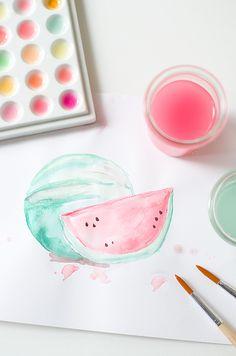 wasserfarbenmalerei wunderschön-gemacht: wasser(melonen)farben