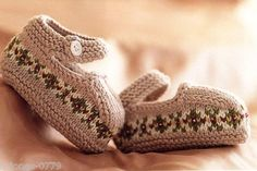 Vintage Knitting Pattern for sweet baby booties shoes fair isle pattern 3/6 6/9 months