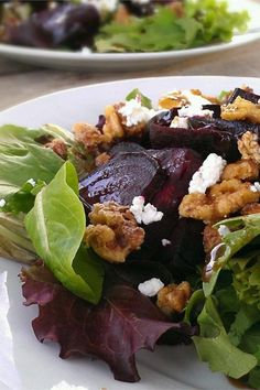"Beet Salad with Goat Cheese | ""great salad- a hit at a big summer potluck."" #saladrecipes #salads #saladideas"
