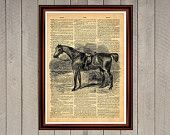 Horse animal nature rider print Rustic decor Cabin Vintage Retro poster Dictionary page Home interior Wall 0009