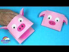 How to Make a Paper Pig Puppet Paper Crafts For Kids, Easy Crafts For Kids, Craft Activities For Kids, Toddler Crafts, Diy For Kids, Craft Kids, Toy Story Crafts, Pig Crafts, Puppet Crafts