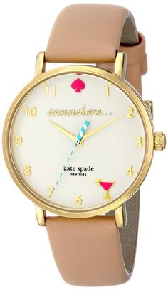 kate spade new york Women's Metro Analog Display Japanese Quartz Beige Watch