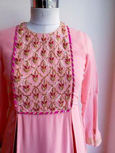 Pink Zardozi Yoke Kurta and Skirt Set Indian Attire, Indian Wear, Indian Outfits, Kurti Embroidery Design, Hand Embroidery, Kurta Neck Design, Indian Designer Suits, Casual Work Outfits, Indian Fashion