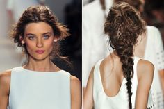 Models rocked chunky French braids courtesy of Antonio Corral, who made sure they were fuzzy, nearly frizzy, and anything but perfect.