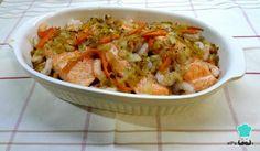 Receta de Salmón al horno con verduras y gambas