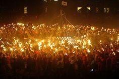 Scotland's great fire festival, Up Helly Aa, is held each year in Shetland.