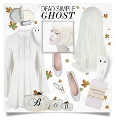 """#221. [watch me disappear]"" by yuuurei ❤ liked on Polyvore featuring Tod's, For Love & Lemons, Sian Bostwick Jewellery, MAC Cosmetics, Lipstick Queen, Halloween, Costume, ghost, halloweencostume and DIYHalloween"
