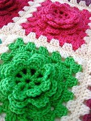 Raised crochet flowers in a granny blanket my Mom made a lot of these before she passed away....