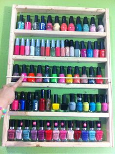 Pre-assembled decorate it yourself nail polish rack. Maybe a smaller version on the inside of a cabinet door