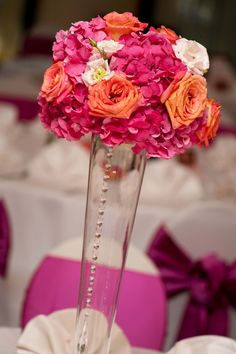 Pink + Coral Centerpiece Courtesy of Nine Photography @ninephotography Austin and Dallas Wedding Planner Altar Ego Weddings