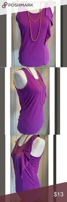 Sleeveless Too Such a cute sleeveless top, with a wavy flowy side trim. Madrid Purple Great color !  NWT  95% Polyester 5% Spandex Worthington Tops