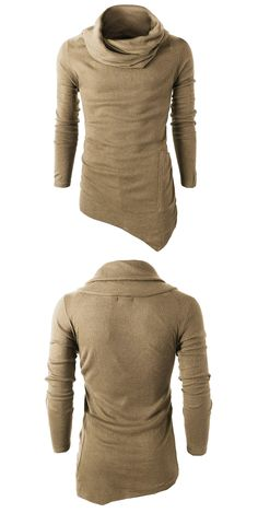 Cowl Neck Pocket Asymmetrical Sweater - Khaki 2xl