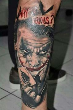 50 Crazy Joker Tattoos Designs and Ideas for Men and Women # . Joker Tattoos, Marvel Tattoos, Batman Tattoo, Neue Tattoos, Bild Tattoos, Design Tattoo, Tattoo Designs, Why So Serious Tattoo, Promotion Examples