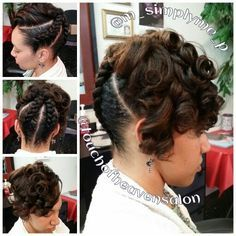 Jumbo braided updo with curls natural hair Pelo Natural, Natural Hair Updo, Natural Hair Styles, Pretty Hairstyles, Girl Hairstyles, Braided Hairstyles, Black Hairstyles, Updo Hairstyle, Wedding Hairstyles