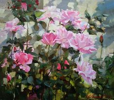 Painting Azat Galimov.Among the roses ...