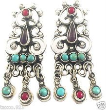 TAXCO MEXICAN STERLING SILVER VINTAGE DESIGN AMETHYST TURQUOISE EARRINGS MEXICO