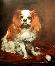 Manet ~ A King Charles Spaniel - Édouard Manet ( 1832 - was a French painter. One of the first artists to approach modern and postmodern-life subjects, he was a pivotal figure in the transition from Realism to Impressionism. Edouard Manet, Pierre Auguste Renoir, Georges Seurat, King Charles Spaniel, Cavalier King Charles, Mary Cassatt, Claude Monet, Munier, Dog Portraits