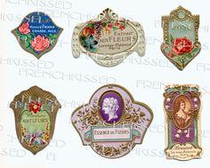 perfume emphera | DIGITAL Scan 6 Petite FRENCH perfume labels Embossed Gold Roses ...