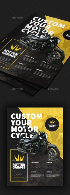 Buy Motorcycle Custom Garage Flyer by Comodensis on GraphicRiver. 1 PSD Files Smart Object 300 dpi CMYK mm with bleed Easy to use All text editab. Template Flyer, Business Flyer Templates, Flyer Layout, Creative Brochure, Brochure Design, Ad Design, Flyer Design, Promotional Flyers, Custom Garages