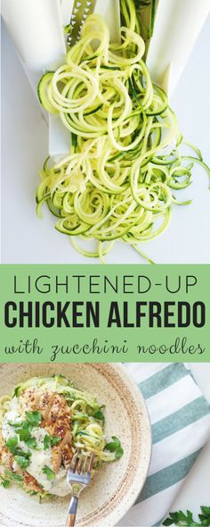 Lightened Up Chicken Alfredo with Zucchini Noodles. A healthier, delicious Alfredo sauce gets paired with Italian spiced chicken and nutritious zucchini noodles for a lighter take on a typically heavy dish! Easy Chicken Recipes, Easy Dinner Recipes, Real Food Recipes, Easy Meals, Cooking Recipes, Pizza Recipes, Lunch Recipes, Zoodle Recipes, Spiralizer Recipes