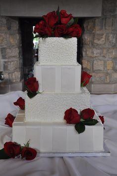 By The Cake Studio Wedding Cake Designs, Wedding Cakes, White Cakes, Occasion Cakes, Let Them Eat Cake, Red Roses, Cake Decorating, Studio, Birthday