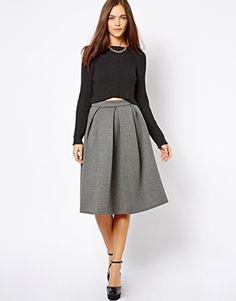 e52c6f420c0 Image 1 of River Island Box Pleat Full Skirt Midi Skirt