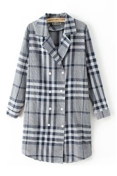 Grids Double-breasted Long Sleeves Blouse