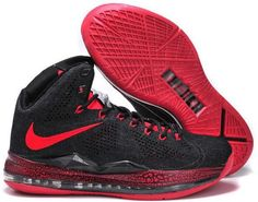 http://www.asneakers4u.com Nike Lebron 10 2013 Hardcover Carving Black Red Running Shoes