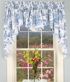 French-country themes are elegantly played out on our 100% cotton Toile. (Country Curtains Lenoxdale Toile Swag. Available in Blue, Black, Dove, Fern, and Sand.)